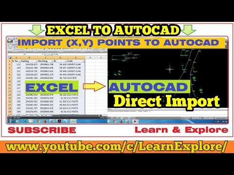 How to import X Y coordinates from Excel to AutoCAD direct! (English)