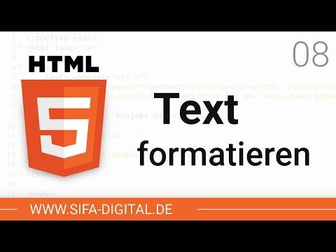 HTML Grundkurs: Text Formatieren #08 (4K)   SIFA Digital