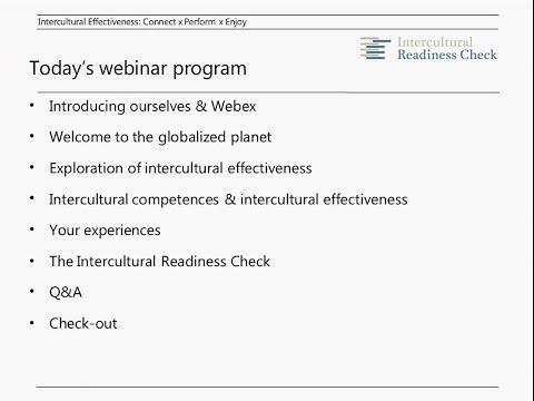 SIETAR Europa Webinar: Intercultural Effectiveness = Connect x Perform x Enjoy