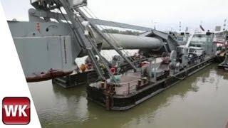 Ein Taucherglockenschiff auf dem Rhein