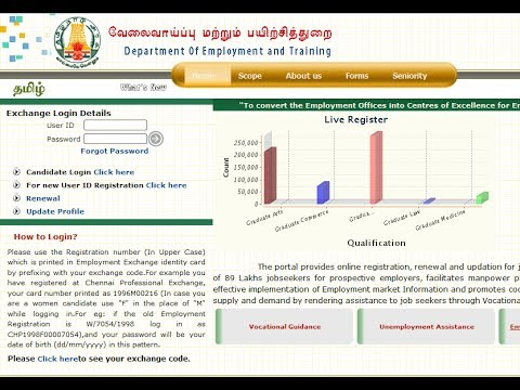 Tamilnadu Employment exchange Online Renewal