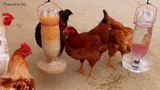 Como hacer bebedero y comedero para gallinas con botellas de plástico
