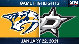 NHL Game Highlights | Predators vs. Stars - Jan. 22, 2021