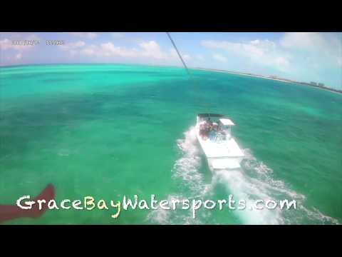 Parasailing on Grace Bay beach Providenciales in Turks and Caicos