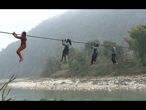 Rural Nepal- cross river by cable wire for livelihood