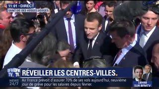 Malgré quelques cris de colère, Emmanuel Macron plutôt bien accueilli à Saint-Dié dans les Vosges