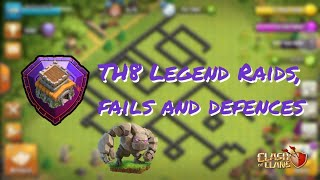 TH8 Legend Attacks, fails and defence replays || Clash of Clans || BobbleHeads Clan