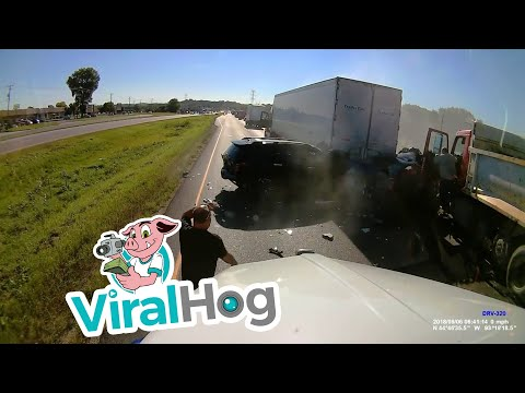 Dump Truck Plows Into Three Cars || ViralHog