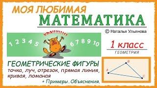 Геометрические фигуры. Точка, прямая, отрезок, луч, кривая, ломаная. Примеры. Математика 1 класс.