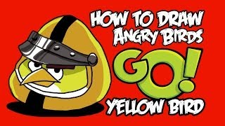 How to draw Yellow bird (Angry birds GO!)