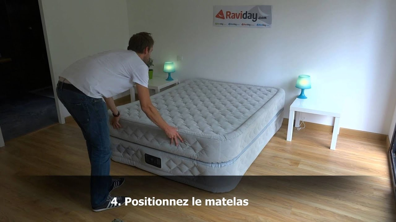 Matelas gonflable intex supr me bed 2 personnes youtube - Matelas pirelli bedding ...