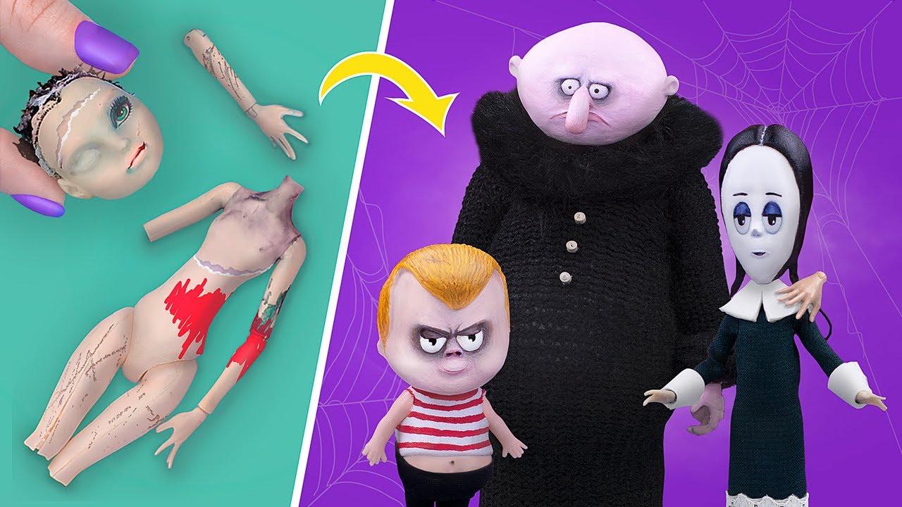 8 идей для старых кукол Барби и ЛОЛ в стиле Семейки Адамс ...