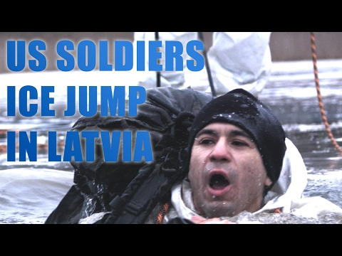 US soldiers ice jump in Latvia