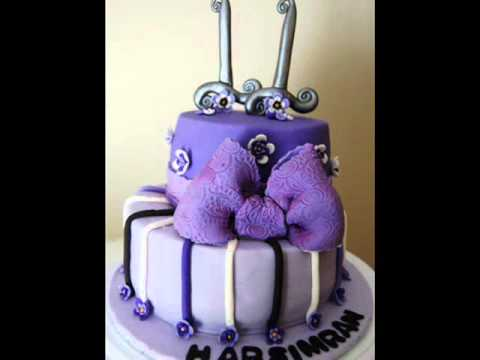 Th Birthday Purple Themed Cake YouTube - 11th birthday cake ideas