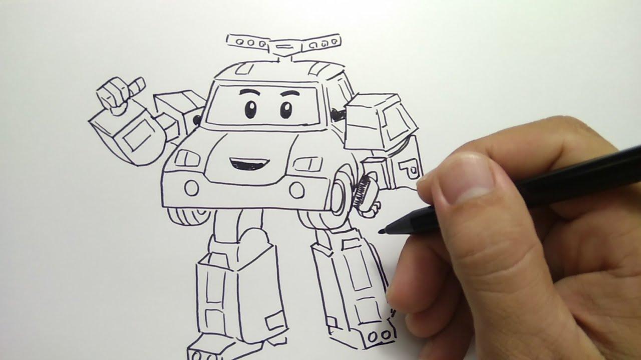 cara menggambar robocar poli how to draw robocar poli