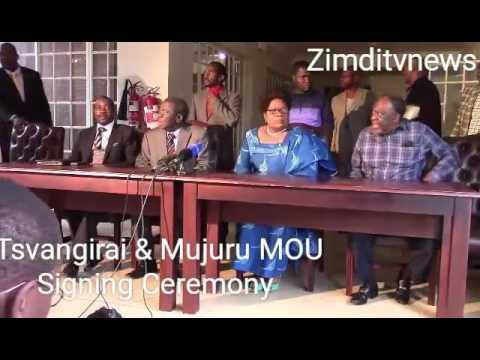 Tsvangirai & Mujuru MOU Signing Ceremony