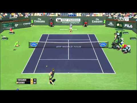 Roger Federer Vs Dmitry Tursunov AMAZING Point Indian Wells 2014 HD