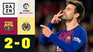 Gerard Pique bringt Barca auf die Siegerstraße: FC Barcelona - Villarreal 2:0 | LaLiga | Highlights