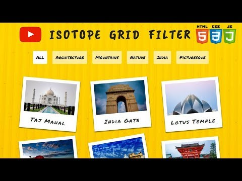 How To Use Isotope Grid Filter (2018)   Isotope Plugin   Category Filter   HTML, CSS And JQUERY