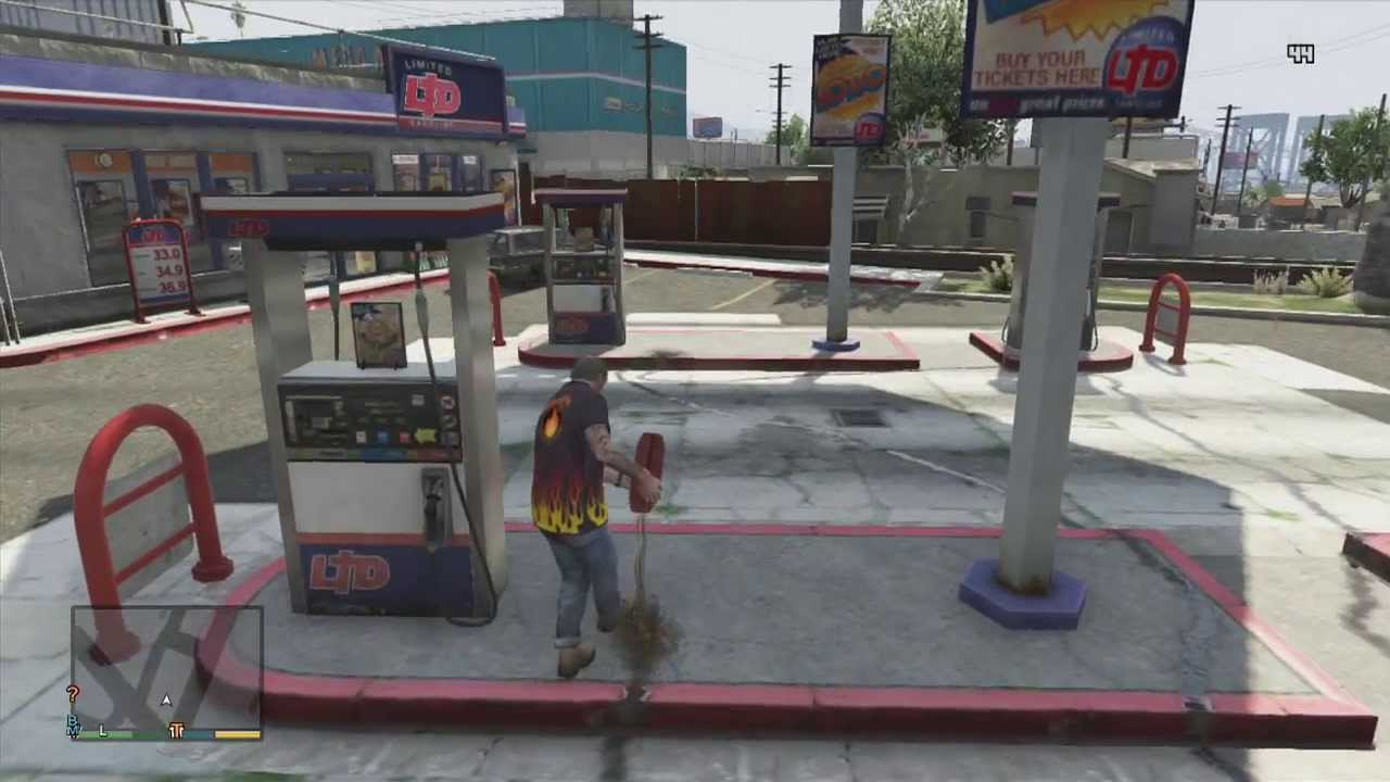 Find A Gas Station >> GTA 5- GAS STATION EXPLOSION!! - YouTube