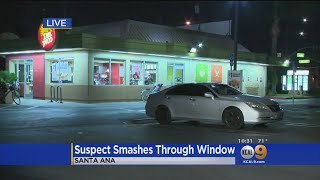 Pursuit Ends At Santa Ana Pizza Place With Suspect Smashing Through Window