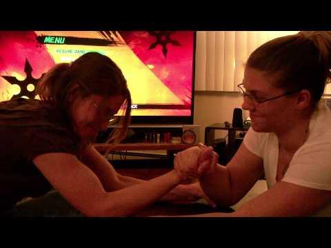 my sisters Elizabeth and Danielle Arm wrestling in Berlin WI.