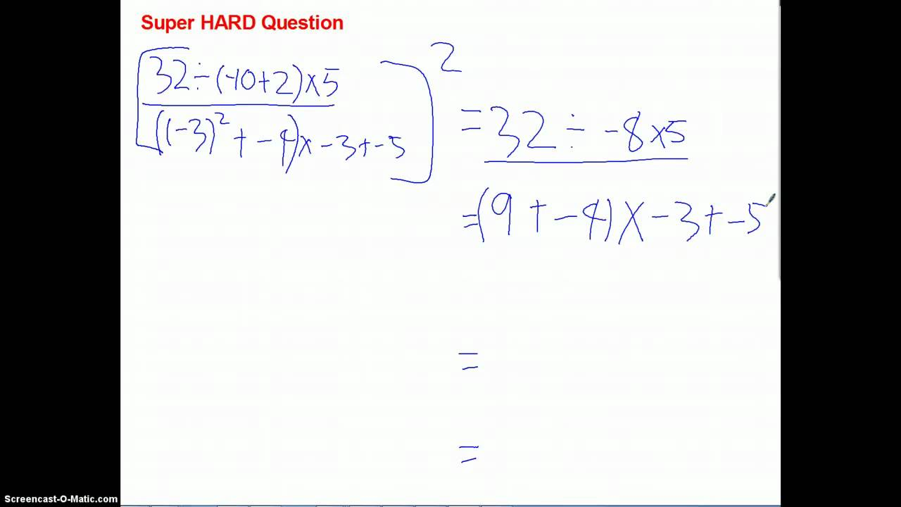 worksheet Hard Order Of Operations Problems order of operations super hard problem youtube