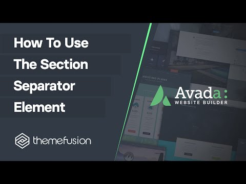 How To Use The Section Separator Element Video