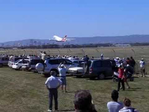 Qantas A380 take off from Adelaide Airport with ATC radio