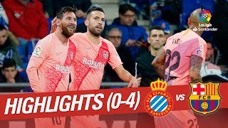 FC Barcelona beat RCD Espanyol 0-4 in the derby. Messi (twice), Dembele and Luis Suarez scored the goals of the victory. LaLiga Santander 2018/2019  Suscríbete al canal oficial de LaLiga Santander en HD | 2018-12-08 00.00h | J15 | ESP | BAR LaLiga Santander on YouTube: http://goo.gl/Cp0tC LaCopa on YouTube: http://bit.ly/1P4ZriP LaLiga 1|2|3 on YouTube: http://bit.ly/1OvSXbi Facebook: https://www.facebook.com/LaLiga Twitter: https://twitter.com/LaLiga Instagram: https://instagram.com/laliga Google+: http://goo.gl/46Py9