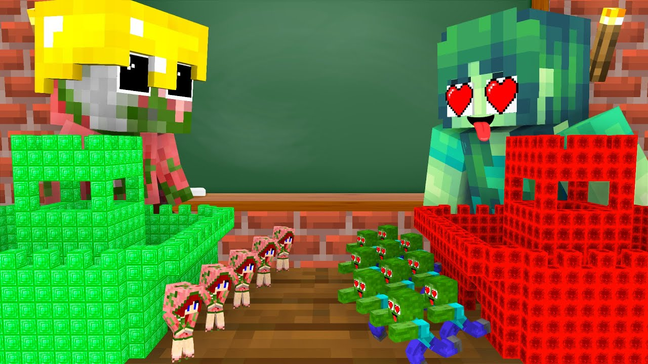 Monster School : ZOMBIE FAMILY VS PIGMAN FAMILY - Minecraft Animation