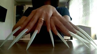 ASMR Fast Aggressive Tapping and Scratching White Extreme Long Nails   Helen ASMR