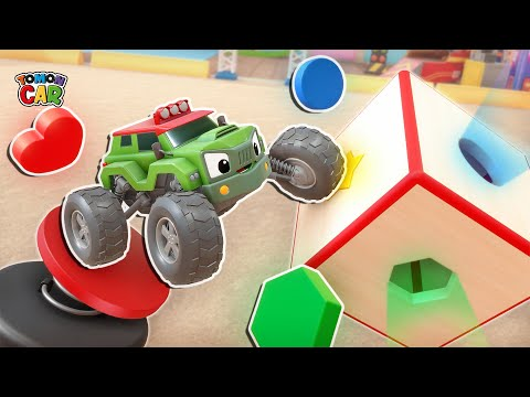 Learn shape names with Tomoncar friends! | shape matching game | tomoncar world |