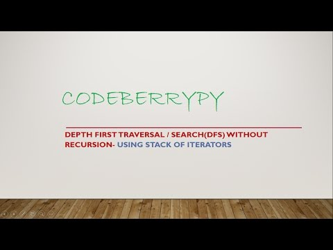 Depth First Traversal/ search(DFS) without recursion -using Stack of Iterators