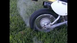 dirt bike burnout on grass