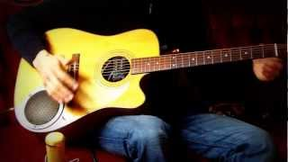 Different styles on an acoustic guitar with built-in amp and overdrive!!!