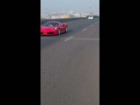 FERRARI--F430 SPIDER AND GTC4 LUSSO ON SURAT NATIONAL HIGHWAY FLYBY