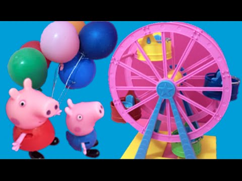 Peppa Pig English Toys Episode - Peppa Pig New 2015 Funfair Toys Video - Daddy Pig Gets Stuck!: Peppa Pig English Toys Episode - Peppa Pig New 2015 Funfair Toys Video - Daddy Pig Gets Stuck! Peppa Pig Goes To The Fair - Peppa Pig Fun Fair Toys Collection NEW 2015  Peppa Pig and her family are going to the fun fair! Peppa is sure to have lots of fun with her family and friends including her brother George, Mummy and Daddy Pig, Rebecca Rabbit, Pedro Pony, Danny Dog and Suzie Sheep.  What will Peppa and her friends get up to? What will go wrong? What games can Peppa play? Will Daddy Pig face his fear of heights? Watch this fun Peppa Pig Toys Episode in English to find out!  This video has lots of toys from the Peppa Pig Theme Park collection including the Peppa Pig Helter Skelter, the Peppa Pig Wheel, the Peppa Pig Balloon Ride set.  The song is 'At the Fair' by Green Orbs from YouTube Editor music.  Why not watch our other popular videos?  Camper! Elsa's barbecue! Picnic S'mores Horseriding! Elsa & Anna take girls camping in Barbie's deluxe Camper Van! Camping! Elsa and Anna are taking their girls to the country in their new deluxe Barbie Camper Van! They have been driving their RV for ages and are so excited to arrive! It's Elsie and Annie's first time camping ever and they want to have lots of fun playing eating and sleeping in their fab new camper van! There's lots to do including collecting firewood making breakfast jumping on the bed watching TV   grilling on their barbecue eating hot dogs burgers drinking fizzy pop tasting marshmallows making s'mores! But the Frozen girls didn't plan to go horse riding and are surprised to see a horse at their breakfast table the next morning!  Airplane! Elsa & Anna board Barbie's Glam Jet! Frozen Dolls go on Vacation! Aeroplane Adventure! Disney Frozen Elsa and Anna are going on vacation on an airplane for the first time! Anna is busy packing her clothes and Elsa has got the passports ready! They don't want to be late! Will the