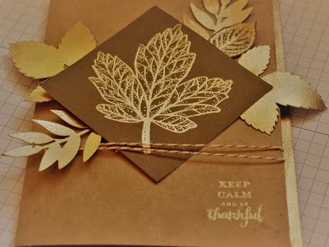 September 2017 Paper Pumpkin Alternative #2 Gold Embossed Layered Leaves