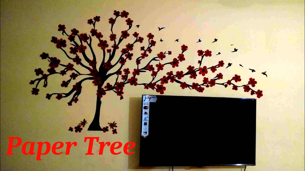 Room Decorating With Paper Wall Treepaper Wall Art Youtube