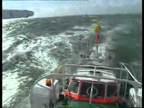 German Sea Rescue Vessel heavy sea very bad weather   Seenotkreuzer der DGzRS in schwerer See