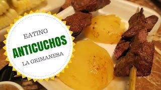Anticuchos de la Tía Grimanesa: (Peruvian beef heart - anticuchos de corazón) in Lima, Peru