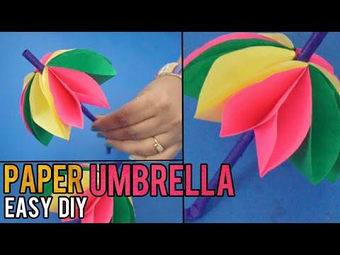 Paper Umbrella making   Cute and easy DIY Umbrella