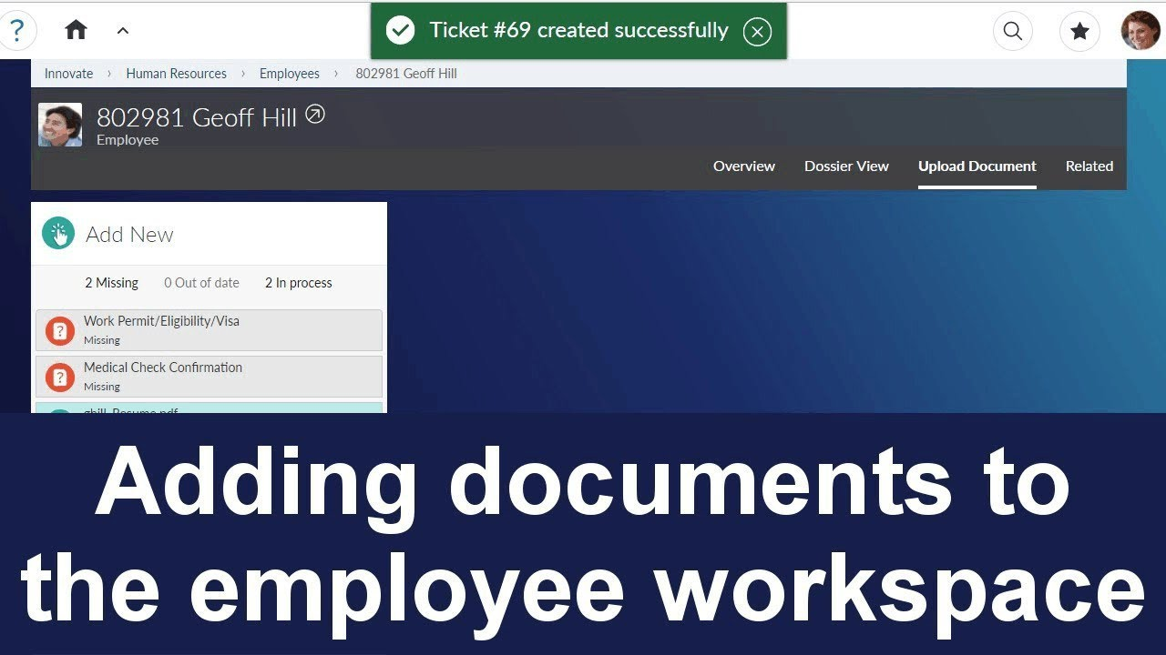 Adding documents to the employee workspace | Extended ECM for  SuccessFactors 16 2 2