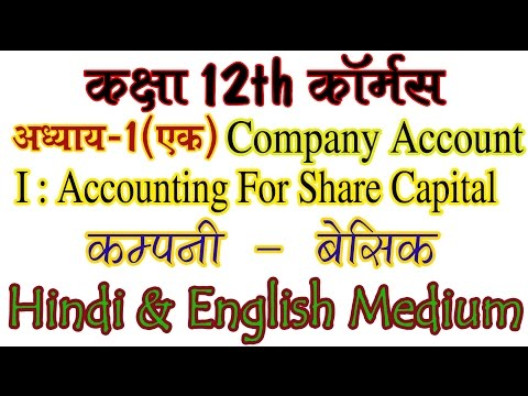 Basic Theory. Class 12th Commerce Ch 1 Company Account I : Accounting For Share Capital