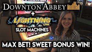 NEW Downton Abbey Slot Machine! Bonus WIN! Going for gold on Lightning Link!