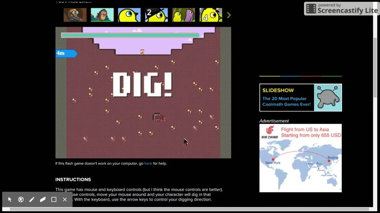 Dig To China Cool Math Games Youtube