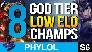 8 GOD TIER LOW ELO Champions - Better at Gold, Silver + Bronze (League of Legends)