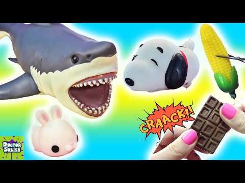 Cutting Open Squishy Shark Toys! Snoopy Squishy! Cracking Chocolate Ocean Goo Slime Doctor Squish