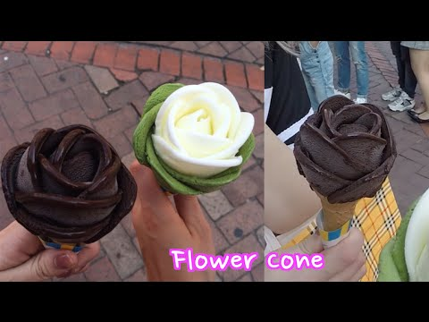 Handmade Flower icecream Cones in Seoul With Sharla